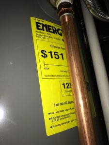 This is the energy estimate sticker for this energy efficient water heater